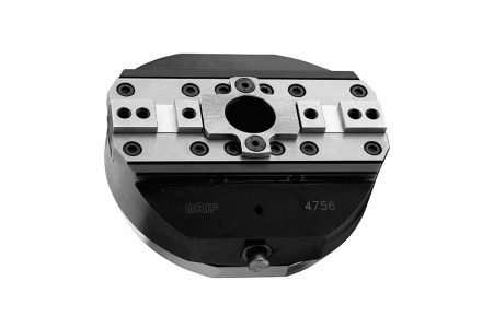 Morsa autocentrante con apertura meccanica e chiusura a molle, due griffe - Self-centering vise with mechanical opening drive and spring closing, two jaws
